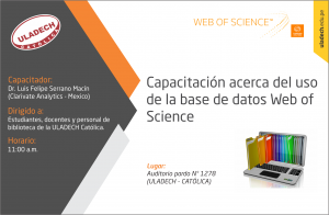 "SEDE CENTRAL: ""Uso de la Base de Datos Web Of Science"" @ Auditorio Pardo"